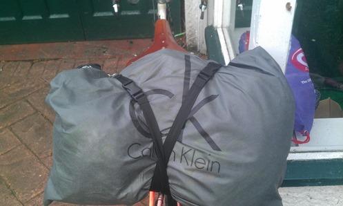 Bag strung to back of bike